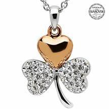 Shamrock Necklace - Gold Plated Shamrock Pendant Encrusted with Swarovski Crystals