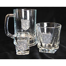 Personalized Pewter Irish Coat of Arms Rocks Glass - Set of 4