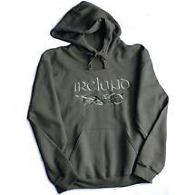 Irish Sweatshirt - Olive Green Ireland with Celtic Dragons Hooded Sweatshirt