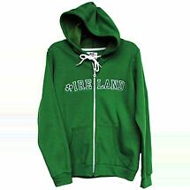 Irish Sweatshirt - Ladies Kelly Green Ireland Embroidered Zip Hooded Sweatshirt