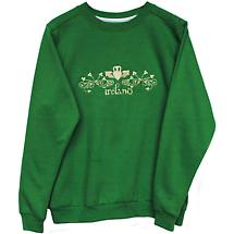 Irish Sweatshirt - Ladies Kelly Green Claddagh Embroidered Sweatshirt