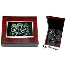 Personalized Irish Coat of Arms 3 Piece Wine Tools Box Set - Rosewood Finish