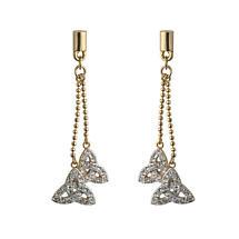 Irish Earrings - Gold Plated Crystal Twin Trinity Knot Earrings
