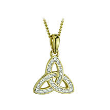 Celtic Pendant - 18k Gold Plated with Crystals Trinity Knot Pendant with Chain