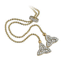 Irish Necklace - Gold Plated Crystal Twin Trinity Knot Pendant