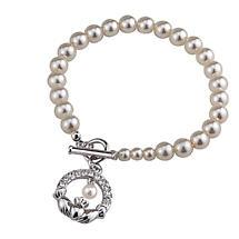 Claddagh Pearl Bracelet - Rhodium Plated