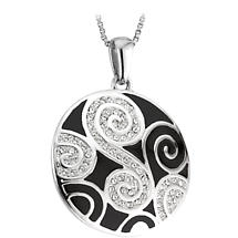 Celtic Pendant -  Rhodium Plated Enamel Celtic Swirl with Crystals Irish Necklace