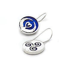 Irish Earrings - Sterling Silver Children of Lir Earrings - Blue