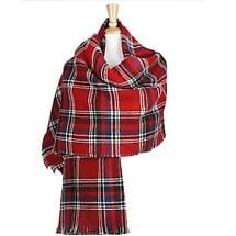 Irish Cape - Reversible Red Plaid Shawl with Fringe