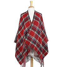 Irish Cape - Reversible Red Plaid Ruana with Fringe
