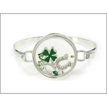 Irish Bracelet - Silvertone Lucky Charm Chamber Bracelet