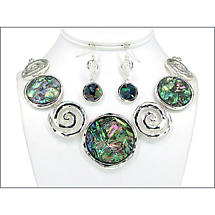 Paua Shell Spiral Necklace and Earring Set