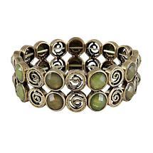 Irish Bracelet - Green Stone Set Spiral Bracelet