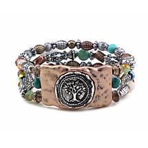 Irish Bracelet - Tree of Life Beaded Bracelet Gold Tone