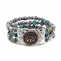 Irish Bracelet - Tree of Life Beaded Bracelet Silver Tone
