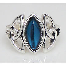 Celtic Ring - Silvertone Double Trinity with Blue Marquis Center Stone Stretch Ring