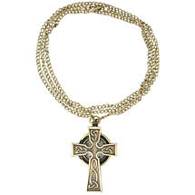 Celtic Jewelry - Antique Gold Celtic Cross Watch Necklace