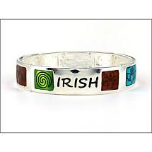 Irish Bracelet - Irish Symbols and Words Enamel Stretch Bracelet