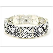 Irish Bracelet - Silvertone Book of Kells Stretch Celtic Bracelet