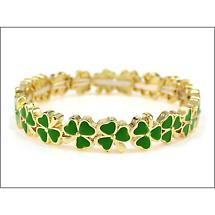 Shamrock Bracelet  - Goldtone Shamrock Enamel Stretch Bracelet