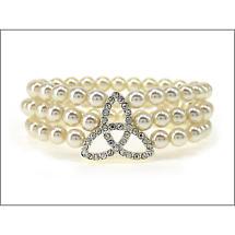 Trinity Knot Bracelet - Crystal Set Trinity Knot Pearl Stretch Bracelet