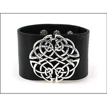 Irish Bracelet - Celtic Knot Wide Snap Leather Bracelet