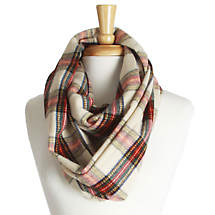 Irish Scarf - Ivory Plaid Infinity Scarf