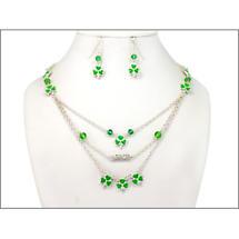 Irish Jewelry Set - Shamrock Three Tier Necklace and Earring Set