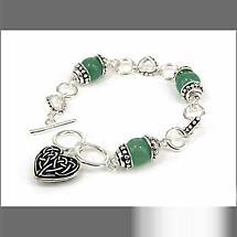 Celtic Bracelet - Celtic Heart Aventurine Toggle Bracelet