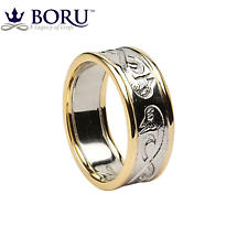 Celtic Ring - Men's White Gold with Yellow Gold Trim Celtic Wedding Ring