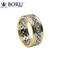 Celtic Ring - Ladies White Gold with Yellow Gold Trim Pierced Celtic Wedding Ring