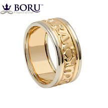 Mo Anam Cara Ring - Men's Yellow Gold with White Gold Trim - Mo Anam Cara 'My Soul Mate' Irish Wedding Band