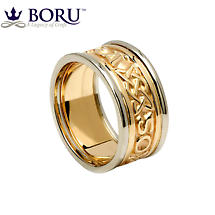 Irish Ring - Men's Yellow Gold with White Gold Trim - Gra Go Deo 'Love Forever' Irish Wedding Ring