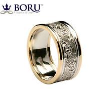 Irish Ring - Ladies White Gold with Yellow Gold Trim Triskele Weave Irish Wedding Ring