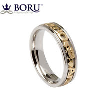 Mo Anam Cara Ring - Ladies Sterling Silver with 10k Yellow Gold Mo Anam Cara 'My Soul Mate' Irish Wedding Band
