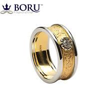 Celtic Ring - Ladies Gold Diamond Warrior Shield Wedding Ring