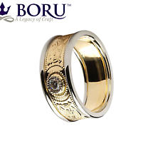 Celtic Ring - Men's Yellow Gold with White Gold Trim and Diamond Warrior Shield Wedding Ring
