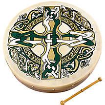 "Bodhran Drum - 8"" Celtic Cross"