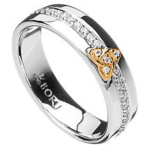 Irish Ring - 10k Trinity Knot CZ Wide Band Irish Wedding Ring
