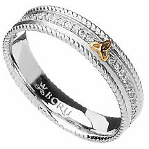 Irish Ring - 10k Trinity Knot CZ Narrow Band with Rope Edges Irish Wedding Ring
