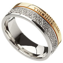 Celtic Ring - 10k Yellow Gold and Sterling Silver Comfort Fit 'Faith' Trinity Knot Irish Band