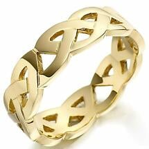 Irish Wedding Ring - Mens Gold Celtic Trinity Knot Wedding Band