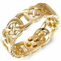 Irish Wedding Ring - Mens Gold Celtic Knot Wedding Band