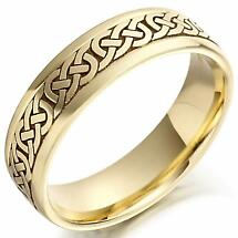 Irish Wedding Ring - Mens Gold Celtic Knots Wedding Band