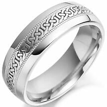Irish Wedding Ring - Mens Celtic Knot Gold Irish Wedding Band