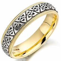 Trinity Knot Wedding Ring - Mens Two Tone Trinity Celtic Knot Beaded Irish Wedding Band