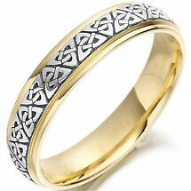 Trinity Knot Wedding Ring - Ladies Two Tone Trinity Celtic Knot Irish Wedding Band