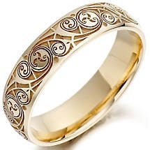 Celtic Wedding Ring Las Gold Spiral Triskel Irish Band