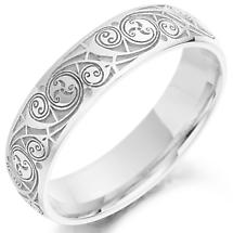 Celtic Wedding Ring - Mens Gold Celtic Spiral Triskel Irish Wedding Band