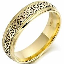 Irish Wedding Ring - Mens Gold Celtic Knots Beaded Wedding Band